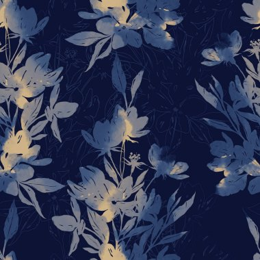 mix repeat seamless pattern with imprints of flowers