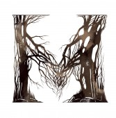 Fotografia watercolor letter M of artistic forest cartoon alphabet from tree branches