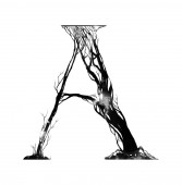 watercolor letter A of artistic forest cartoon alphabet from tree branches