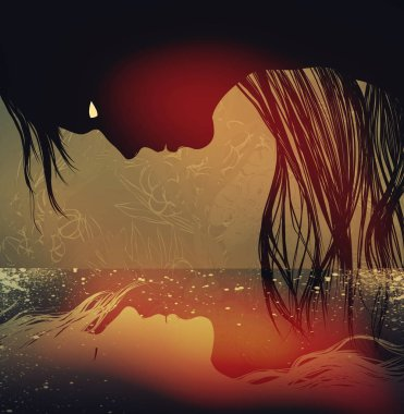 Tale of drowned girl. Mixed media artwork.