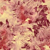 Photo imprints sakura blossom mix repeat seamless pattern. digital hand drawn picture with watercolour texture. mixed media
