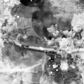 Fotografia immagine monocromatica da autunno vecchie lettere perse ed Erbario con macchie di vernice