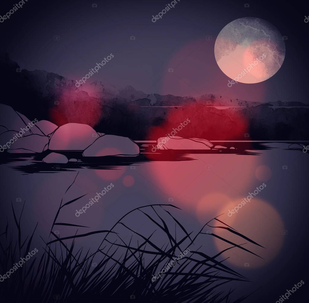Digital hand drawn picture with watercolour texture of river with grass and stones with moon at night , Mixed media artwork