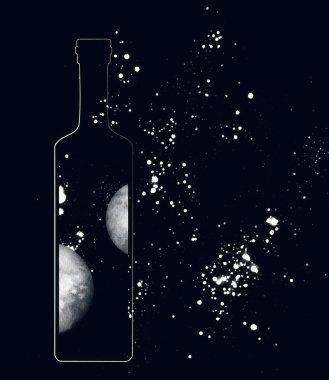 alan şişe içinde ve arka planda, dijital illüstrasyon