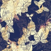 Fotografie Digitální ručně kreslenou opakujte vzor bezešvé s otisky listů, akvarel