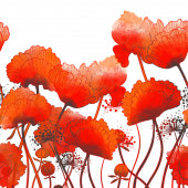 silhouette meadow poppies seamless border. digital hand drawn picture with watercolour texture. mixed media artwork. endless motif for textile decor and botanical design