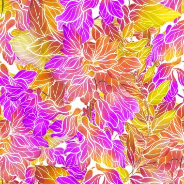 Meadow flowers seamless pattern. Digital lines hand drawn picture with watercolour texture, spots and splashes. Mixed media artwork. Endless motif for textile decor and botanical design