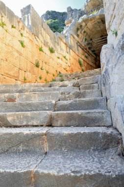 Stone stairway leading to a passage to the upper part of the 2nd.century BC built-2nd.century AD rebuilt largest Greco-Roman theater in Lycia. Myra-Demre town-Antalya province-Turkey.