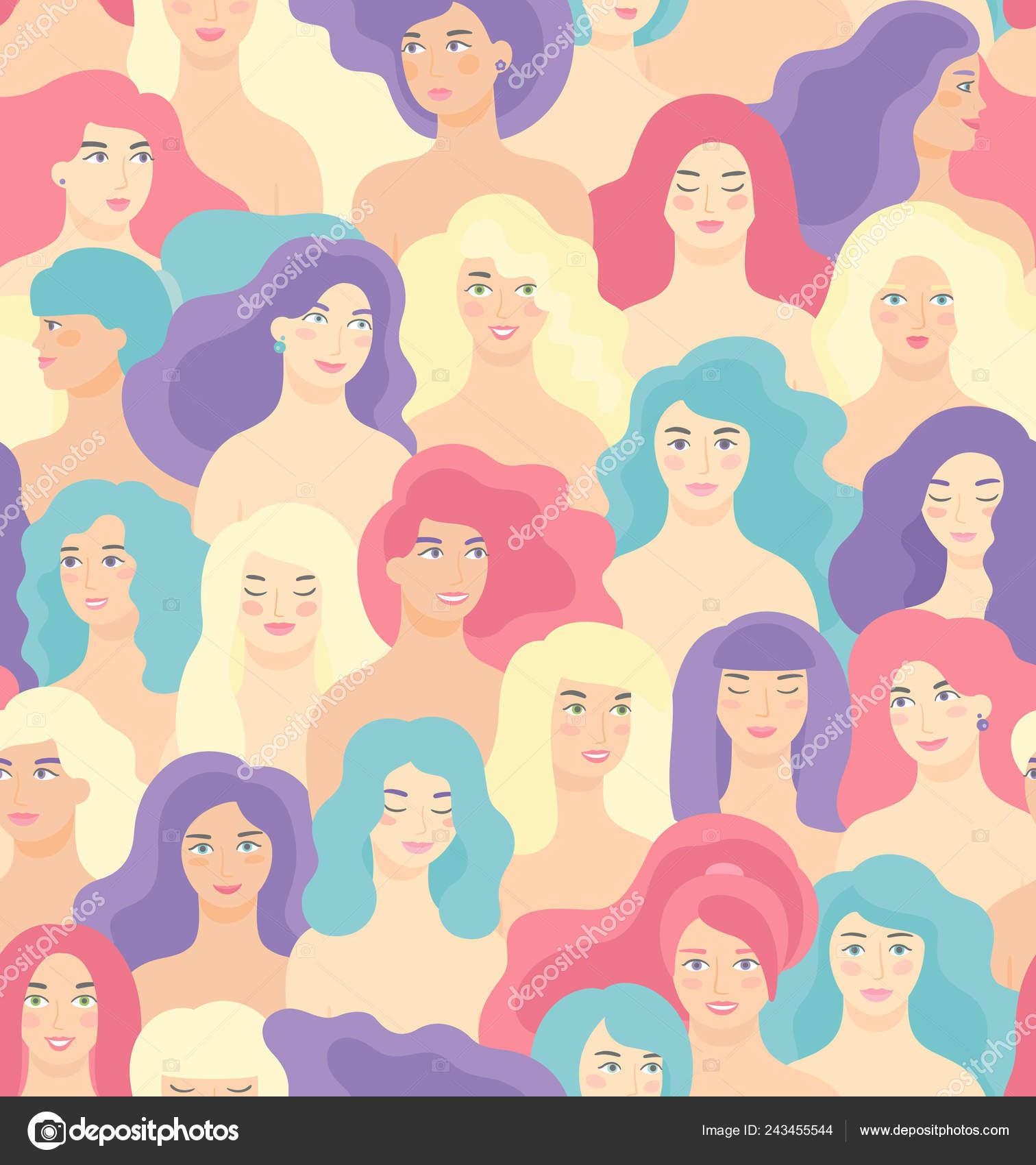Día Internacional De La Mujer De Patrones Sin Fisuras Con Caras De
