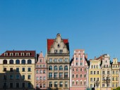 Photo beautiful colorful facades of antique building at Wroclaw, Poland