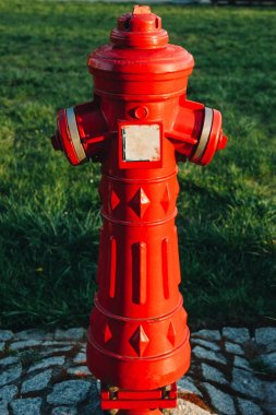 Close-up shot of red antique fire hydrant on street of wroclaw stock vector