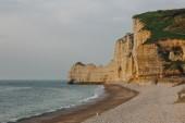 Fotografie malebné záběr dramatické pobřeží na zamračený den v Etretat, Francie