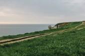 Fotografie schöne grüne Wiese auf der Klippe über dem Meer bei Etretat, Frankreich
