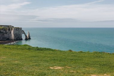 calm view of beautiful cliff and blue sea, Etretat, Normandy, France