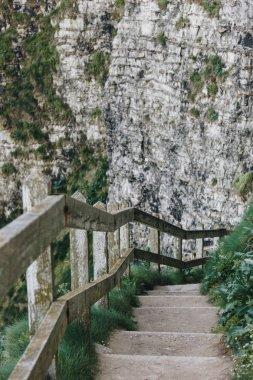 """Картина, постер, плакат, фотообои """"каменные лестницы с деревянными перилами на скале, этрета, нормандия, франция постеры печать картины фото фотографии"""", артикул 197755700"""
