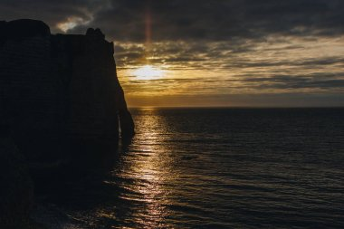 aerial view of beautiful sunset over the sea, Etretat, Normandy, France