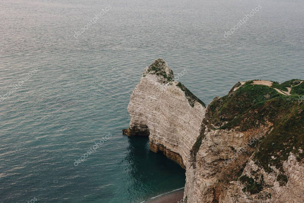 aerial view of scenic cliff at Etretat, France