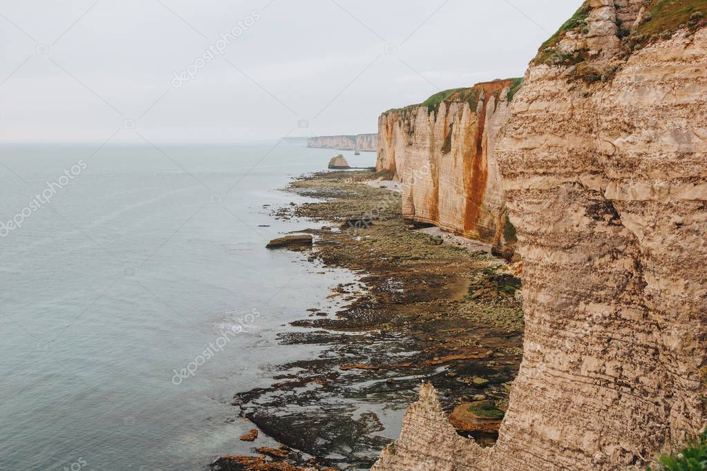 aerial view of beautiful rocky cliff at Etretat, France