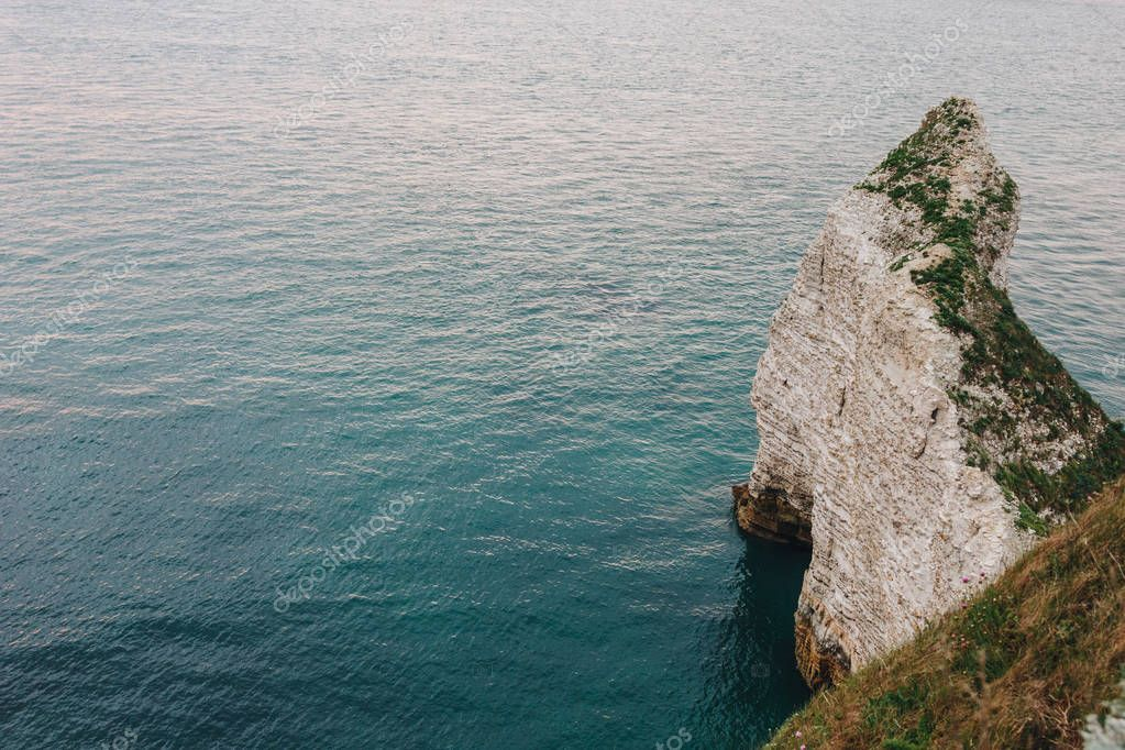 aerial view of rocky cliff at Etretat, France