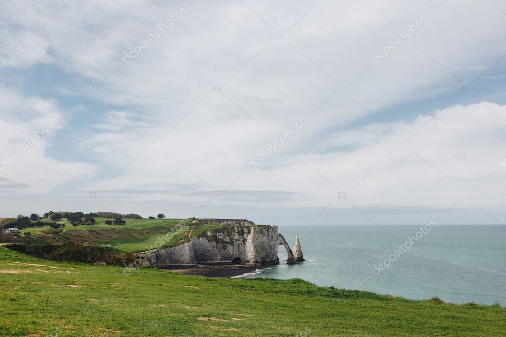 aerial view of green cliff and blue sea, Etretat, Normandy, France