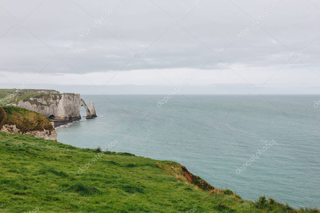 aerial view of cliff and seaside, Etretat, Normandy, France