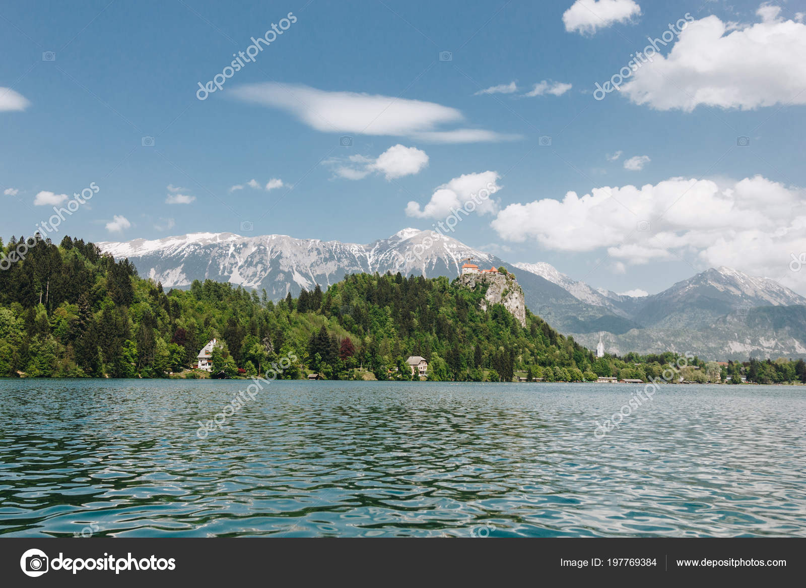 Beautiful Landscape Snow Covered Mountain Peaks Green