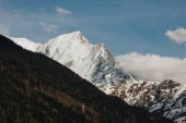 Photo majestic snow-capped peaks and green vegetation in beautiful mountains, mont blanc, alps