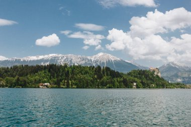 Beautiful snow-covered mountain peaks, green vegetation and calm lake, bled, slovenia stock vector