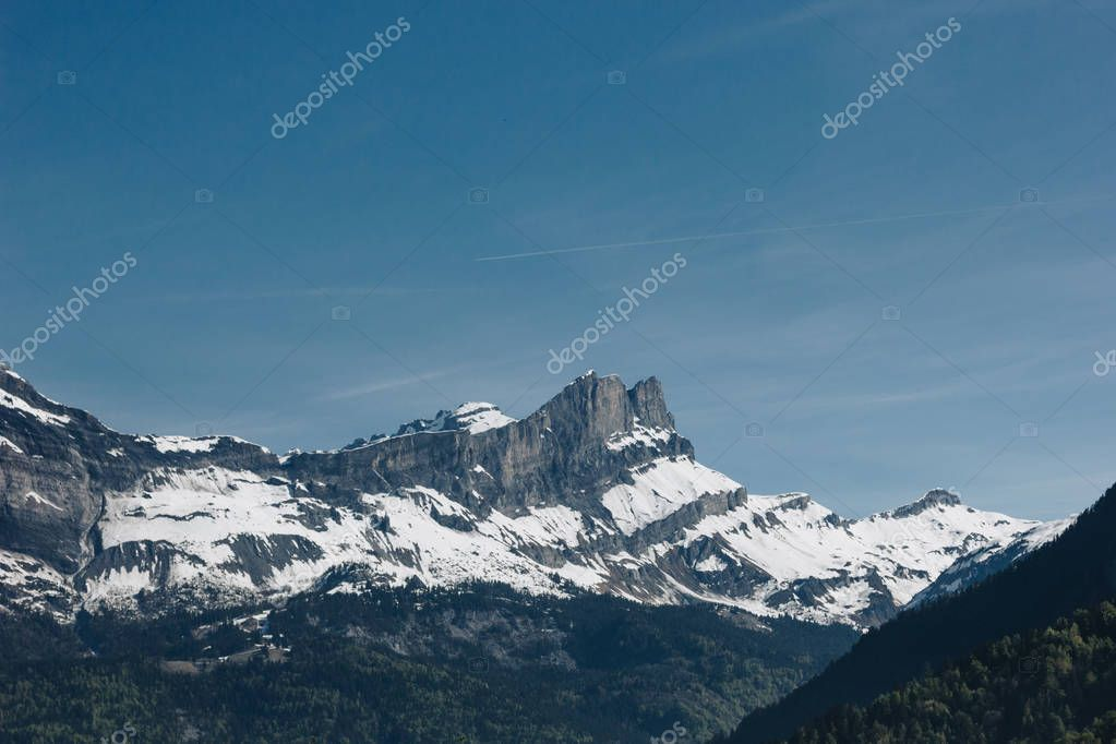 beautiful landscape with majestic mountains at sunny day, mont blanc, alps