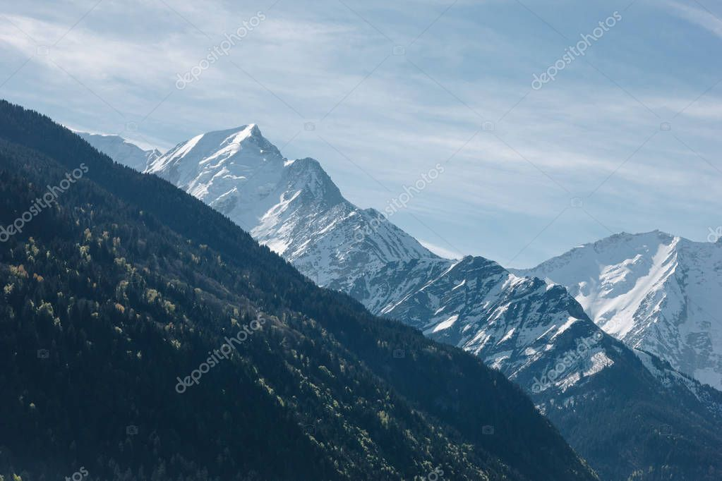 scenic view of majestic mountain peaks at sunny day, mont blanc, alps