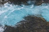 Fotografie Letecký pohled na krásné vody Bruarfoss vodopád na Islandu