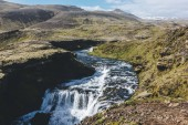 Fotografie aerial view of beautiful Skoga river canyon in Iceland