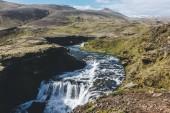 Fotografie Letecký pohled na krásné Skoga říční kaňon Islandu