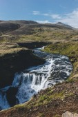 Photo aerial view of beautiful Skora river flowing through highlands in Iceland