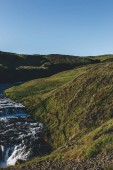 Fotografie landscape with beautiful Skoga river flowing through highlands in Iceland