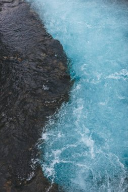aerial view of beautiful blue water of Bruara river in Iceland