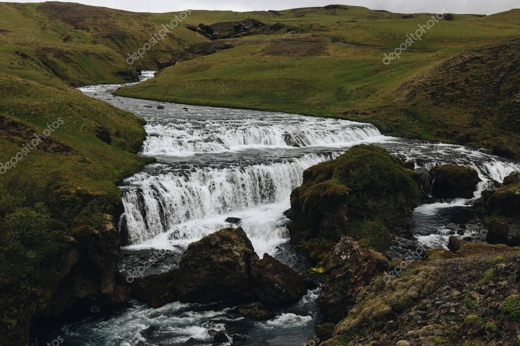 scenic view of beautiful Skoga river flowing through highlands in Iceland
