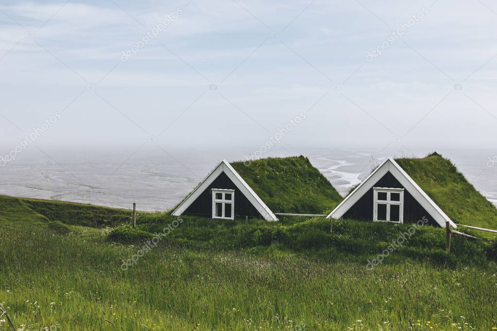 landscape with Black farmhouses in Skaftafell National Park in Iceland