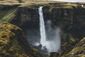 aerial view of icelandic landscape with beautiful Haifoss waterfall