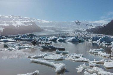 Melting glacier ice floating in lake in Fjallsarlon, Iceland under blue sky stock vector