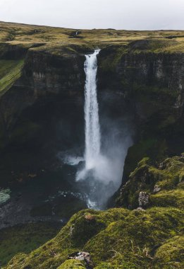 aerial view of dramatic Haifoss waterfall in Iceland