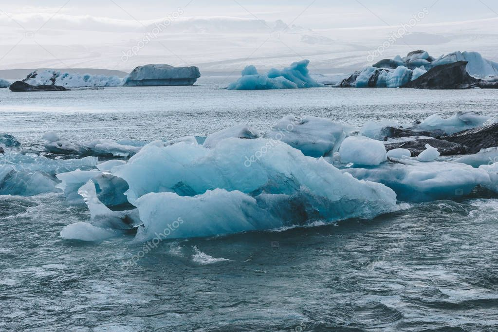 glacier ice pieces floating in lake in Jokulsarlon, Iceland
