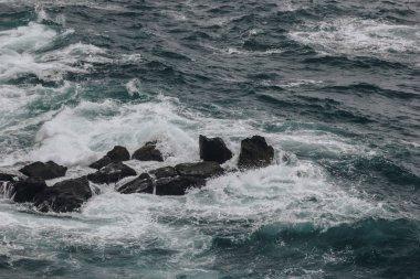 dramatic shot of ocean waves crashing on rocks for background