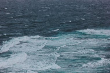 dramatic shot of wavy blue ocean for background