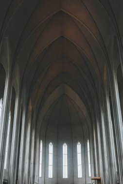 REYKJAVIK, ICELAND - 22 JUNE 2018: interior of beautiful Hallgrimskirkja church in Reykjavik stock vector