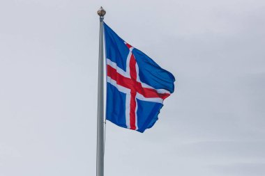 Close-up shot of iceland flag in front of cloudy sky stock vector
