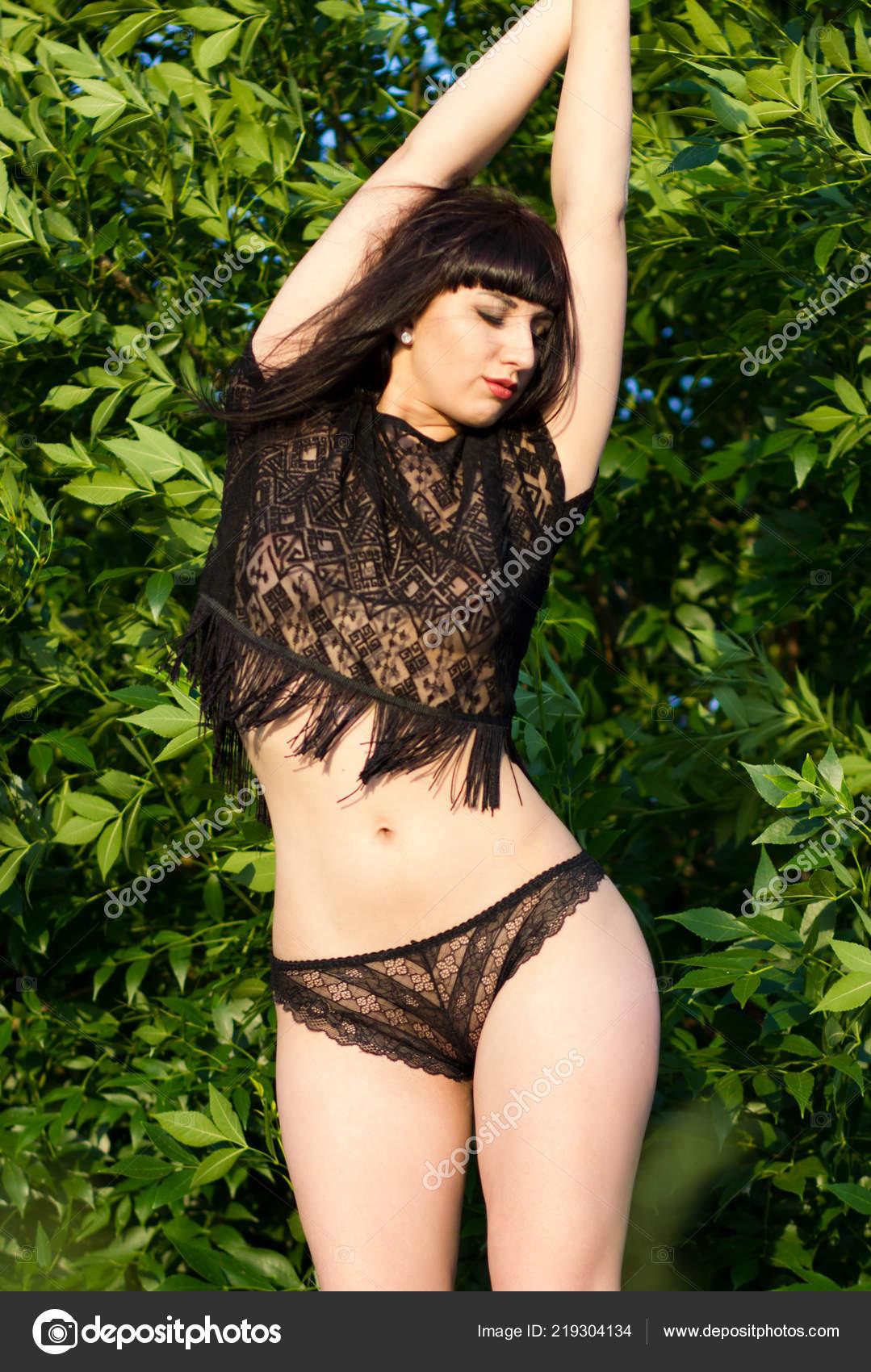99368b7d9 Young Woman Lingerie Long Dark Hair Forest — Stock Photo © Yuriosav ...