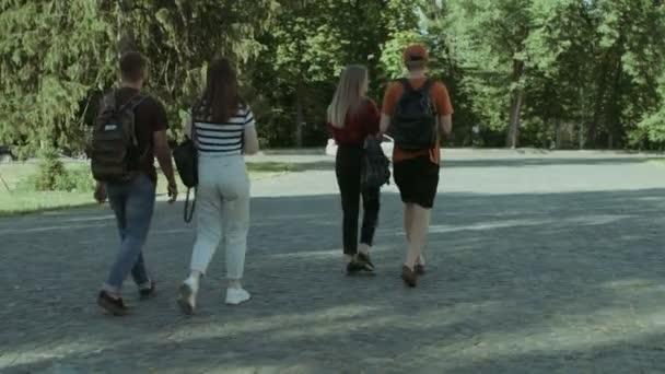 Skupina studentů přátel chůzi po přednášce