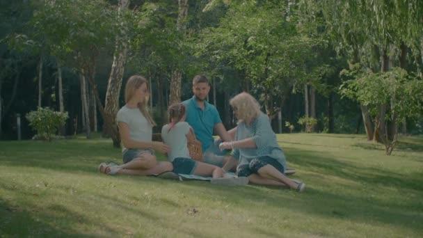 Radostné rodinné pikniky v parku v létě