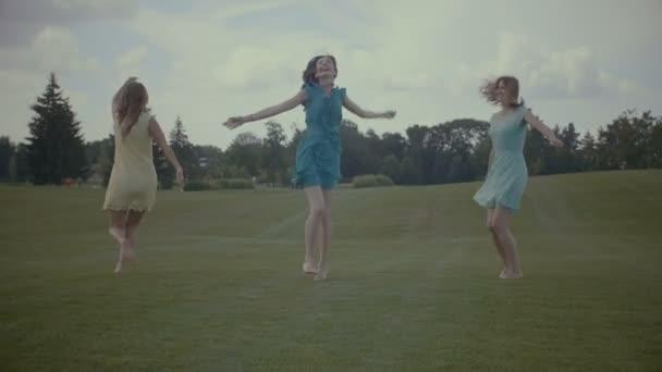 Bezstarostné ženy skákat na zelené trávě v létě